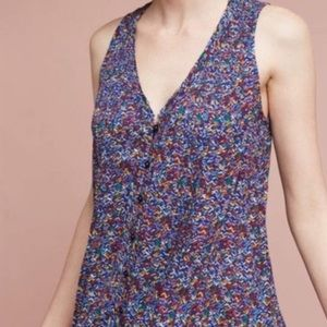Anthropologie Maeve rainbow colored button up tank